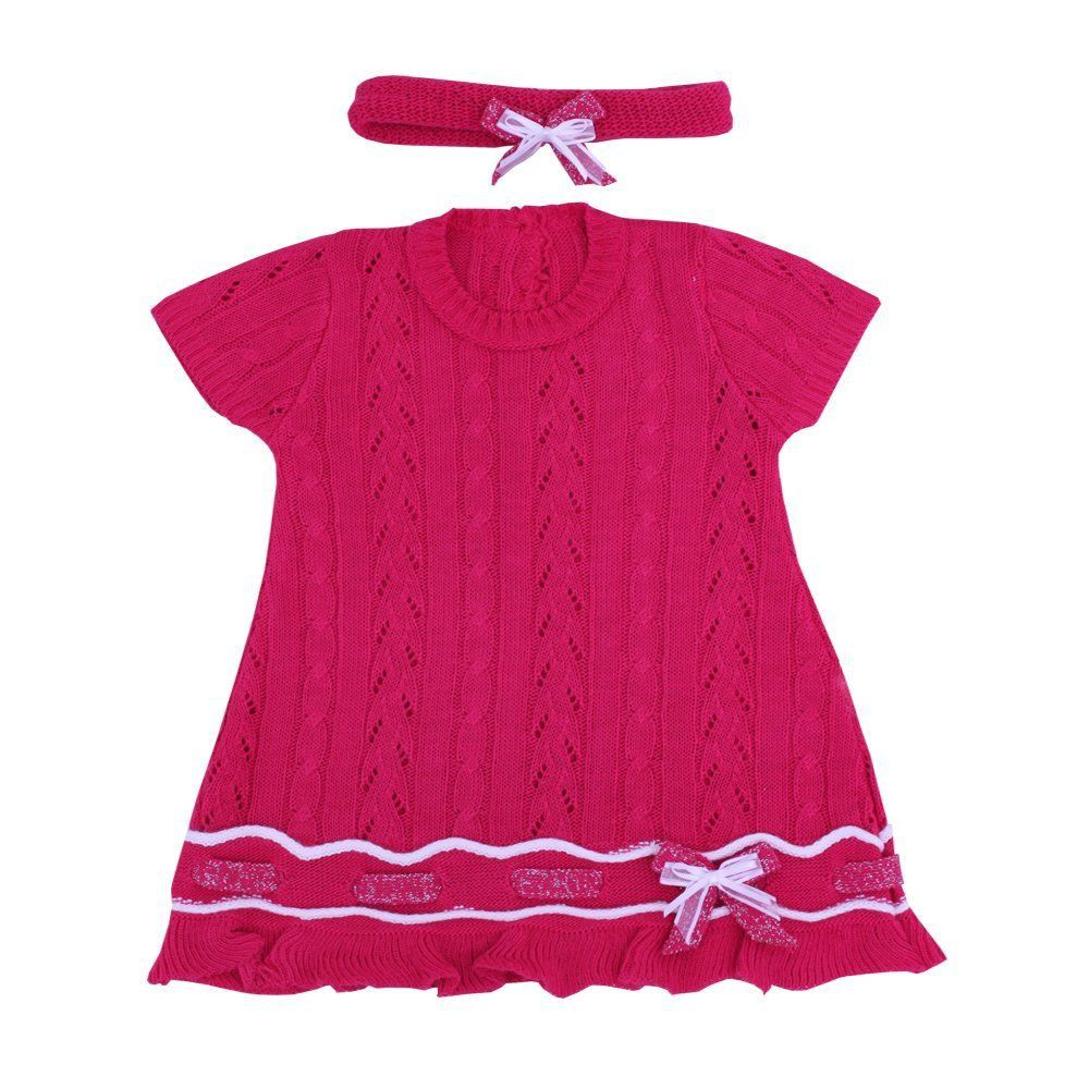 Vestido bebê em tricot com faixa - Pink
