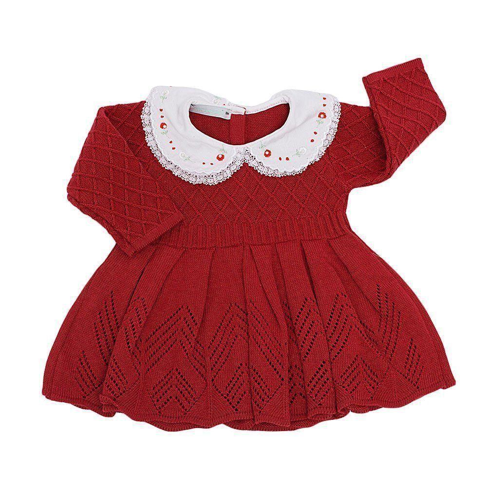 1cf09023567f2 ... Vestido bebê em tricot com gola bordada e calça - Vermelho - Petit Pois  Enfant ...