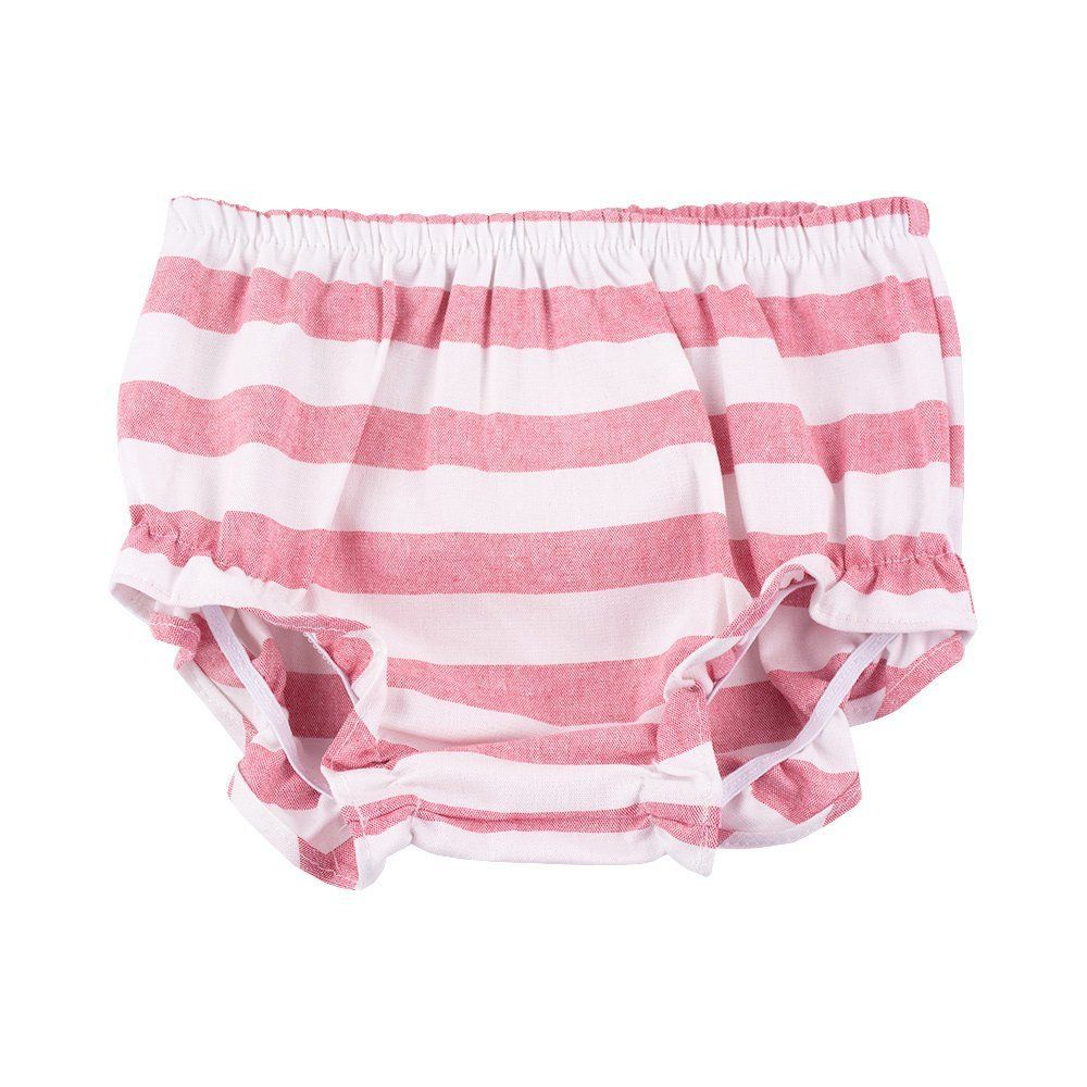 Vestido bebê listrado - Branco e rosa