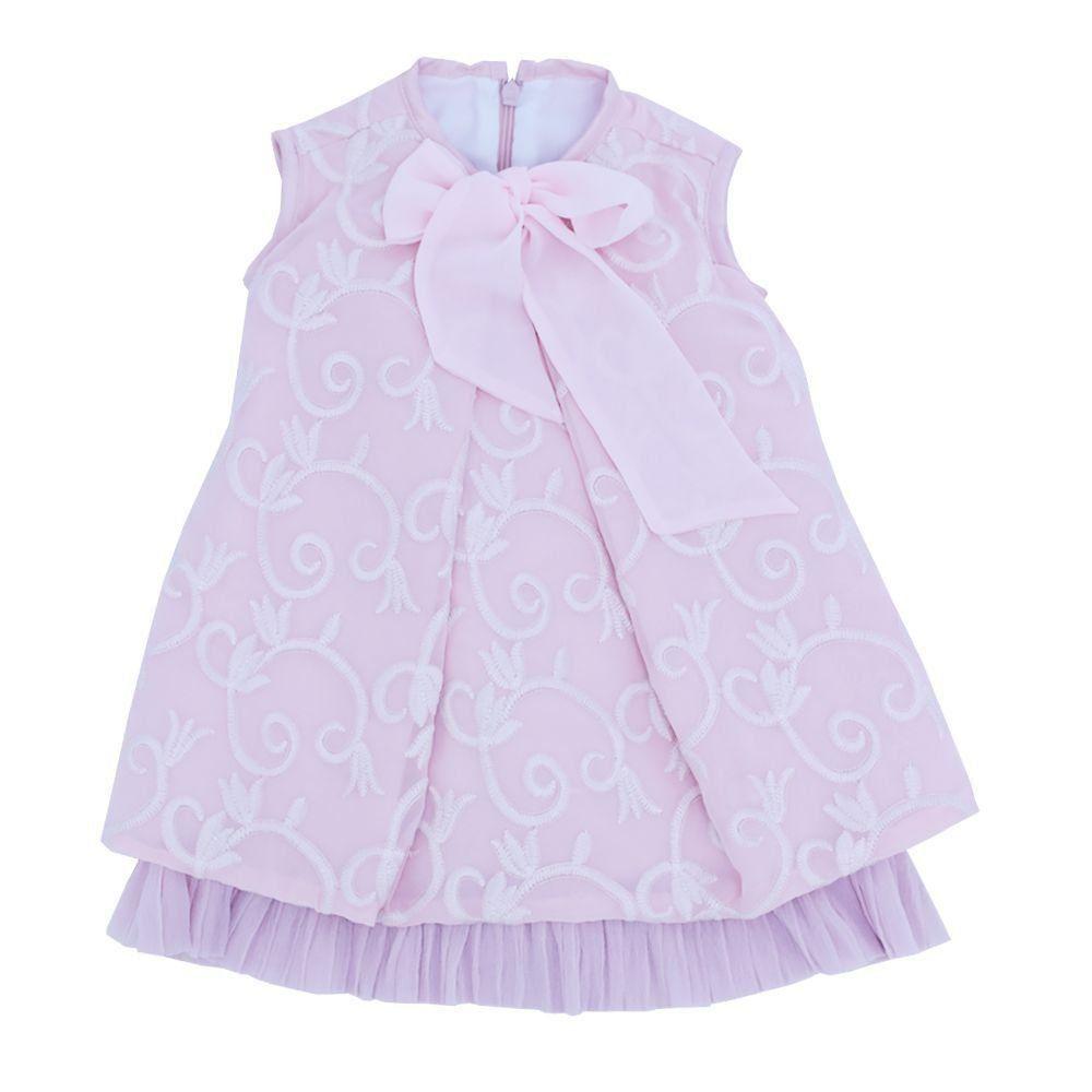 Vestido bordado bebê - Rosa