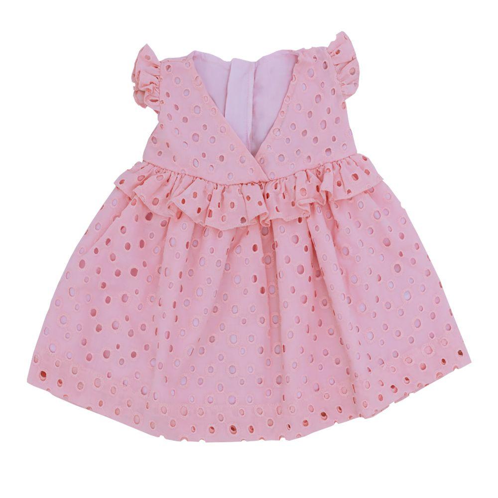 Vestido bebê em lese - Rosa
