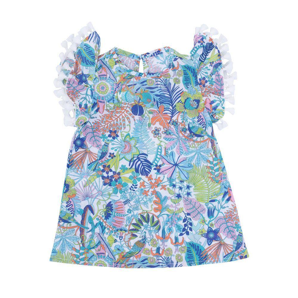 Vestido bebê floral - Azul