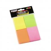 Bloco de Anotações 38x51mm Colorido Neon BRW 04un com 100fls