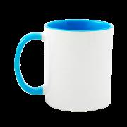 Caneca para sublimação de Cerâmica Branca e Azul Claro 01un