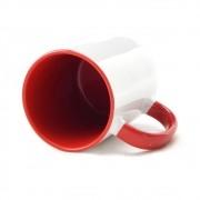 Caneca para sublimação de Cerâmica Branca e Vermelha 01un
