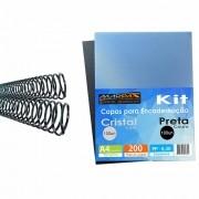 Kit Encadernação 200 Capas A4 + 200 Espirais Pretos 17mm
