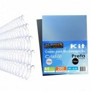 Kit Encadernação 200 Capas A4 + 500 Espirais Cristal Marpax