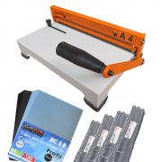 Kit Encadernação Encadernadora Espiral A4-X Marpax + 100 Capas + 100 Espirais