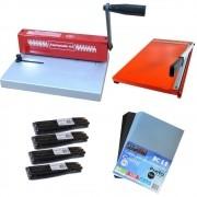 Kit Encadernadora A4 + Guilhotina 36cm + 100 Capas + 100 Espirais