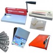 Kit Encadernadora A4 + Plastificadora + Guilhotina + Insumos 110v