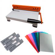 Kit Encadernadora A4-X + Capas Coloridas + Espirais Preto