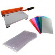 Kit Encadernadora + Capas Coloridas + Espirais Cristal 9mm