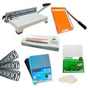 Kit Encadernadora, Plastificadora, Guilhotina + Insumos 220V