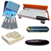 Kit Encadernadora + Plastificadora + Refiladora + Insumo 220