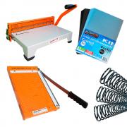 Kit Encadernadora Standard + Guilhotina A4 + Capas e Espiral