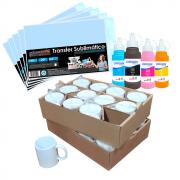 Kit para Sublimação com 24 Canecas + Papel + Tinta 4x100ml