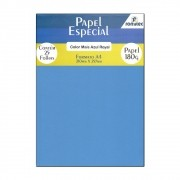 Papel Color Plus Azul Royal A4 210x297mm 180g Romitec 25Fls
