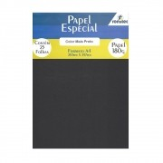 Papel Color Plus Preto A4 210x297mm 180g Romitec 25Fls