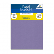 Papel Color Plus Roxo A4 210x297mm 180g Romitec 25Fls