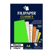 Papel Verde Filicolor Lumi A4 210x297mm 180g Filipaper 20Fls