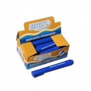 Pincel Atômico Permanente Azul ponta chanfrada BRW 12un