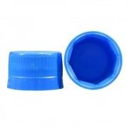 Tampa Plástica com lacre p/ garrafa pet 28mm Azul 100un
