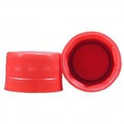 Tampa Plástica com lacre p/ garrafa pet 28mm Vermelho 100un