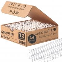 Wire-o para Encadernação 2x1 A4 Branco 1 1/8 250fls 12un
