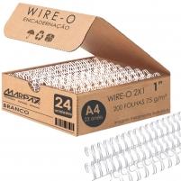 Wire-o para Encadernação 2x1 A4 Branco 1 para 200 fls 24un