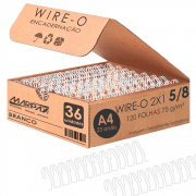 Wire-o para Encadernação 2x1 A4 Branco 5/8 para 120fls 36un