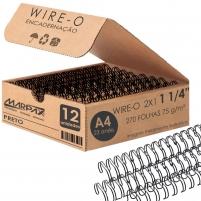 Wire-o para Encadernação 2x1 A4 Preto 1 1/4 até 270fls 12un