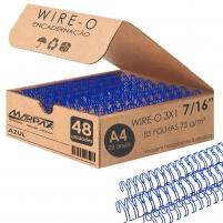 Wire-o para Encadernação 3x1 A4 Azul 7/16 para 85fls 48un