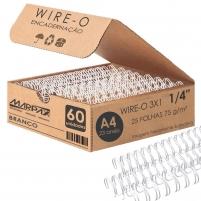 Wire-o para Encadernação 3x1 A4 Branco 1/4 para 25fls 60un