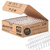Wire-o para Encadernação 3x1 A4 Branco 3/8 para 60fls 48un