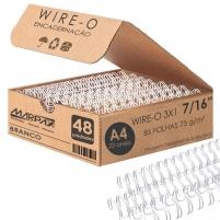 Wire-o para Encadernação 3x1 A4 Branco 7/16 até 85fls 48un