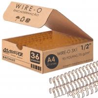 Wire-o para Encadernação 3x1 A4 Bronze 1/2 para 95 fls 36un