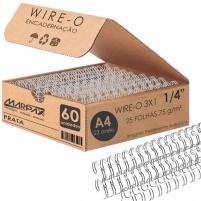 Wire-o para Encadernação 3x1 A4 Prata 1/4 para 25 fls 60un