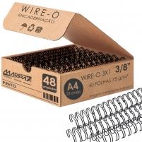 Wire-o para Encadernação 3x1 A4 Preto 3/8 para 60 fls 48un