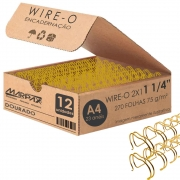 Wire-o para encadernação A4 Dourado 2x1 1 1/4 para 270fls 12un