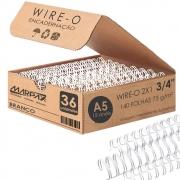 Wire-o para Encadernação A5 3/4 2x1 para 140fls Branco 36un
