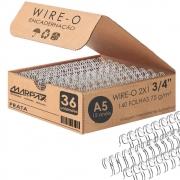 Wire-o para Encadernação A5 3/4 2x1 para 140fls Prata 36un