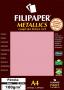 Papel Perolado Rosa A4 210x297mm 180g/m² Filipaper 15 folhas