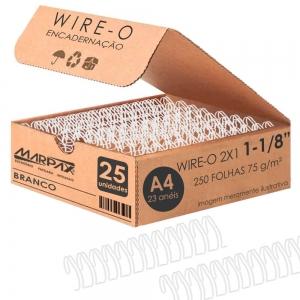 Wire-o para Encadernação 2x1 A4 Branco 1 1/8 250fls 25un
