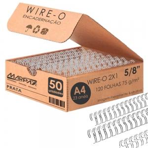 Wire-o para Encadernação 2x1 A4 Prata 5/8 para 120 fls 50un