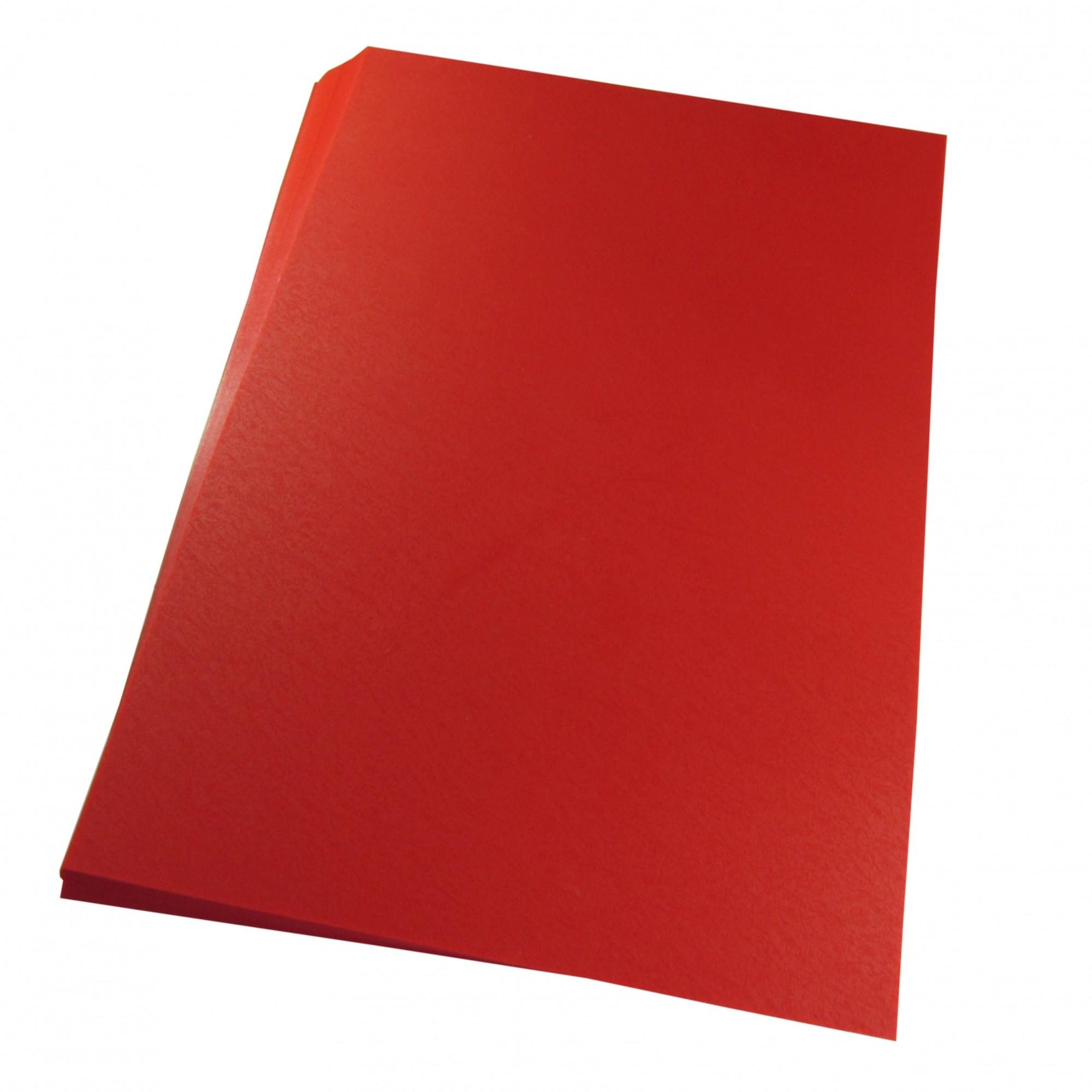 Capa para Encadernação A4 Vermelho Couro Fundo PP 0,30 100un