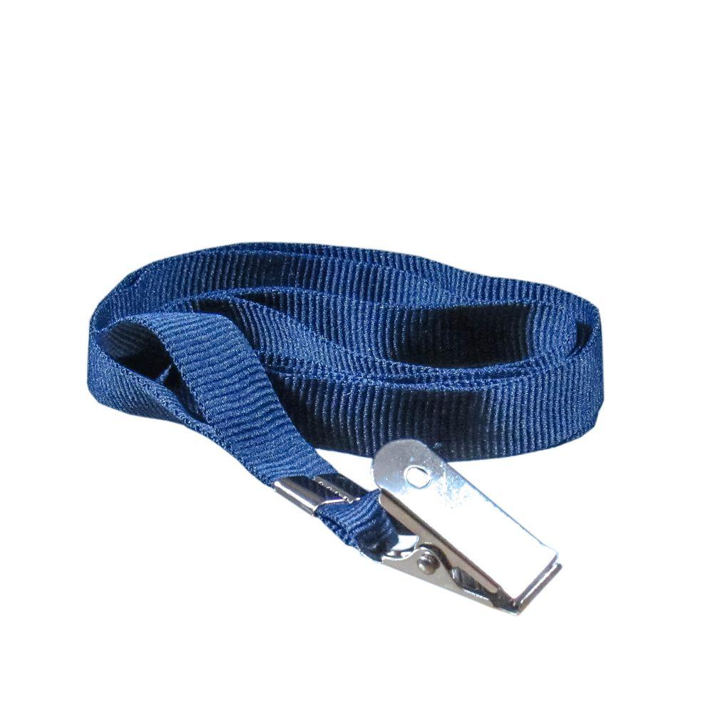 Cordão para Crachá com Jacaré Azul Marinho 12mm Marpax 10un