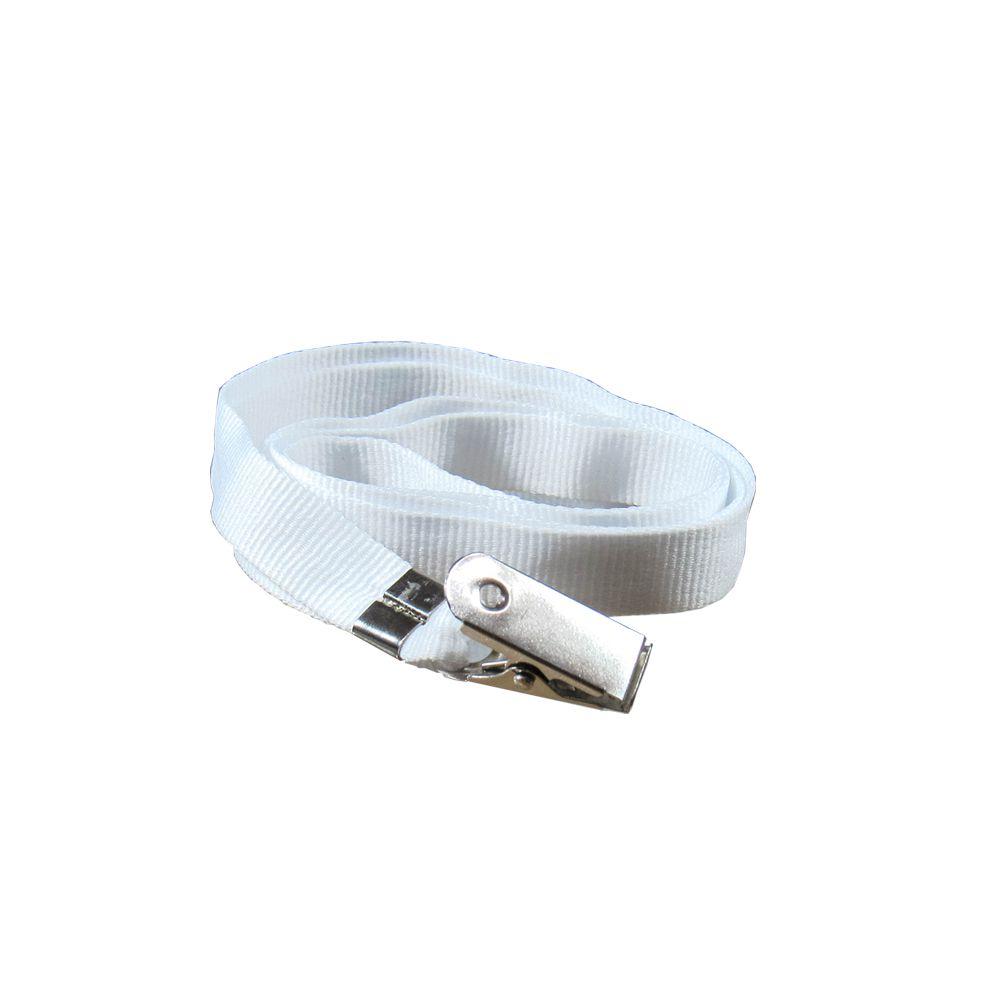 Cordão para Crachá com Jacaré Branco 12mm Marpax 10un