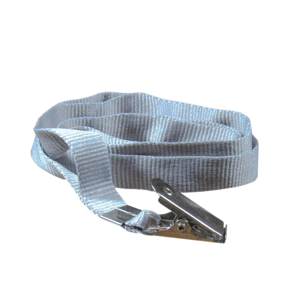 Cordão para Crachá com Jacaré Cinza Claro 12mm Marpax 10un