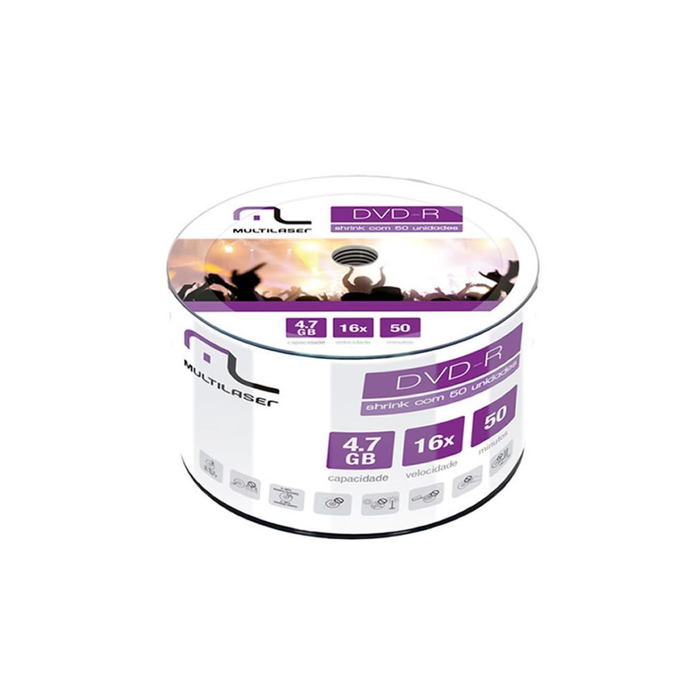 DVD Virgem Gravável DVD-R 4.7GB/120min 16x Multilaser 50un