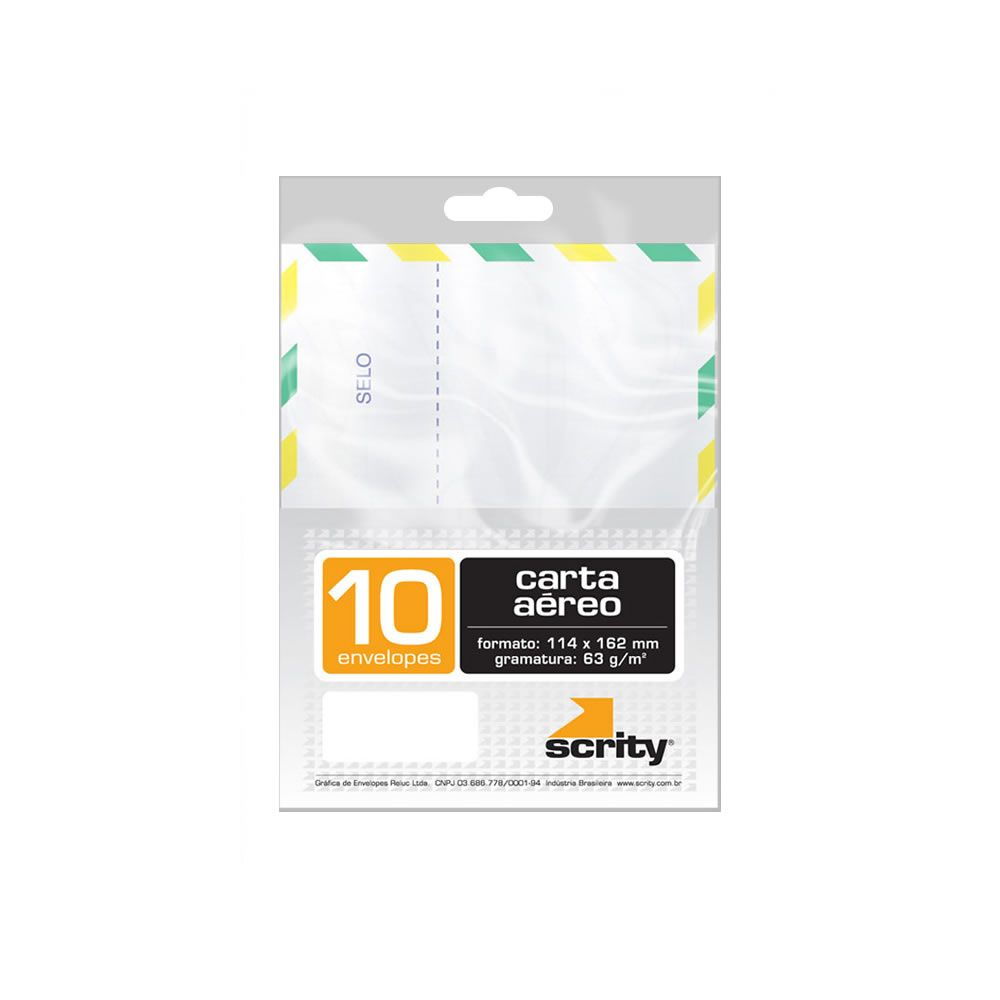 Envelope Carta Aéreo Branco COF115 114x162mm Scrity 10un